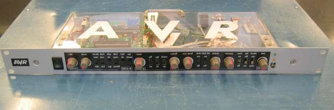 AVR Synth, front view of completed unit