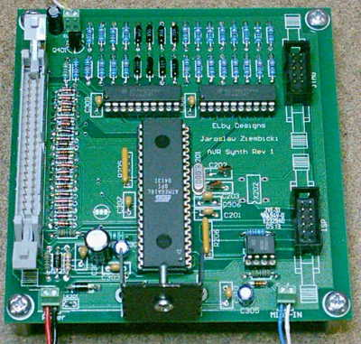 AVR Synth, equipped circuit board