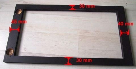 The cutout dimensions on Bestå Vara door.